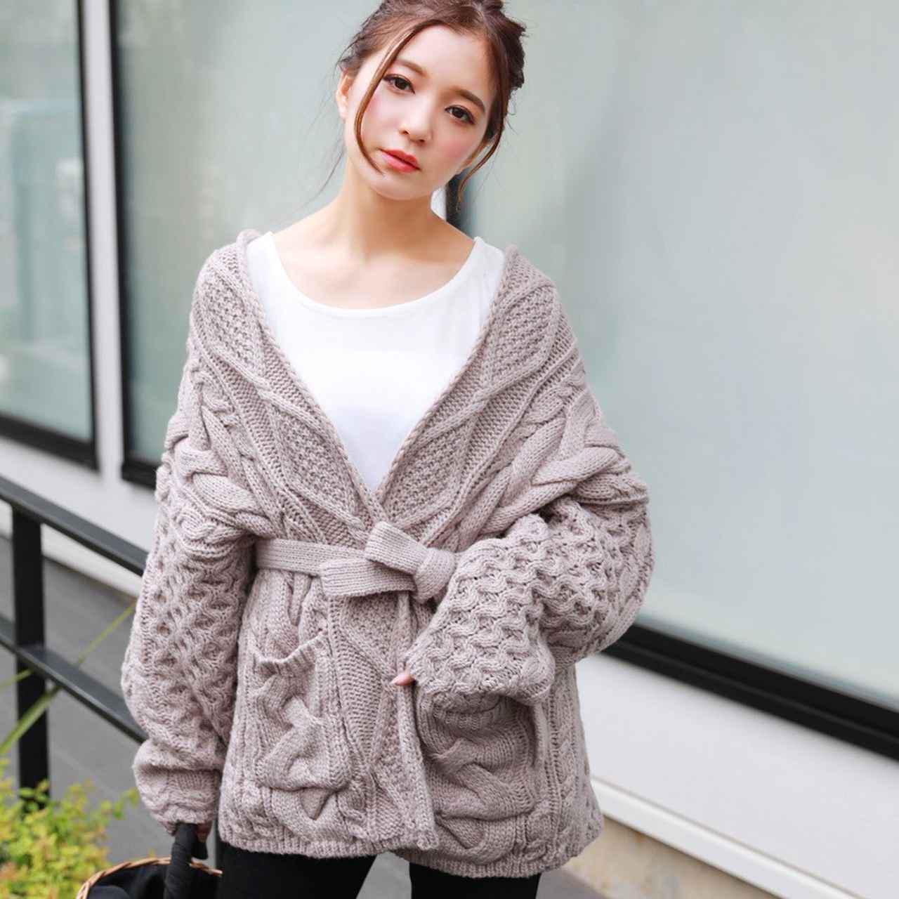 画像1: ざっくり編みが可愛いモテカーディガン