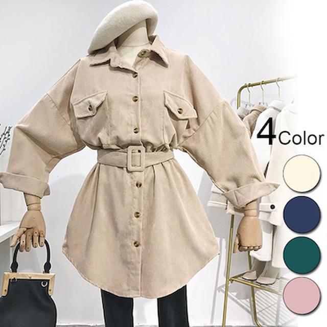 画像: [Qoo10] ベルト付き ルーズコーデュロイジャケット... : レディース服