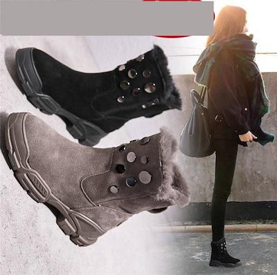 画像: [Qoo10] JUCHI : 靴 ムートン インヒール 暖かい 厚手 : シューズ