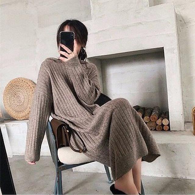 画像: [Qoo10] リブニットワンピース レディース ロング : レディース服