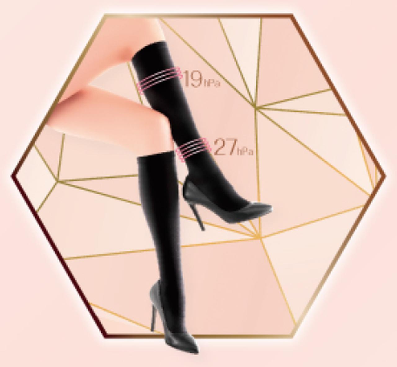 画像: ・段階圧力設計(足首27hPa、ふくらはぎ19hPa)で脚を軽やかにスッキリ整える ・快適W設計で1日中ムレ知らず ・つま先シームレスでスッキリ ・跡残りしにくい