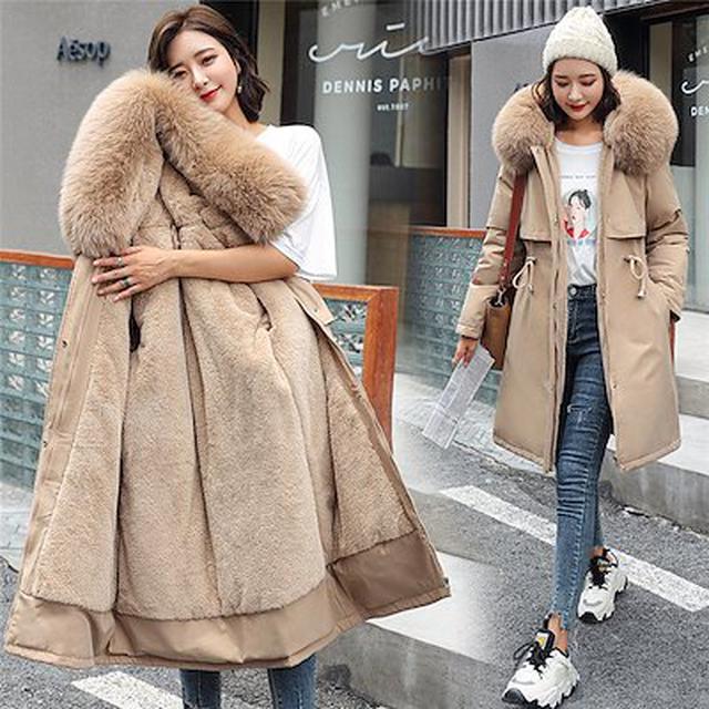 画像: [Qoo10] 送料無料 コート レディース ファーコート ボアコート モッズコート アウター ジャケット フェイクファー付 ファー ロングコート もこもこ フード付き 冬 暖かい 防寒
