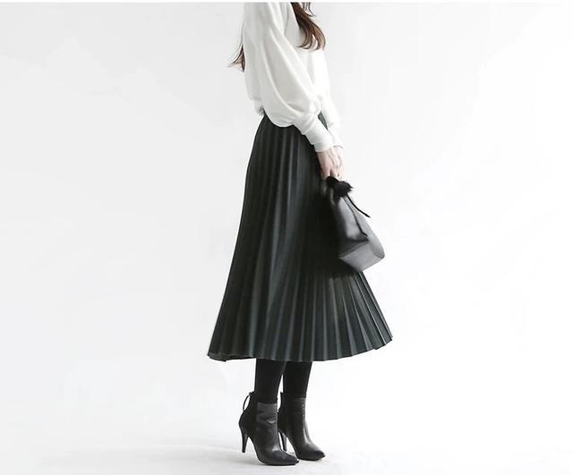 画像1: ウールプリーツロングスカート