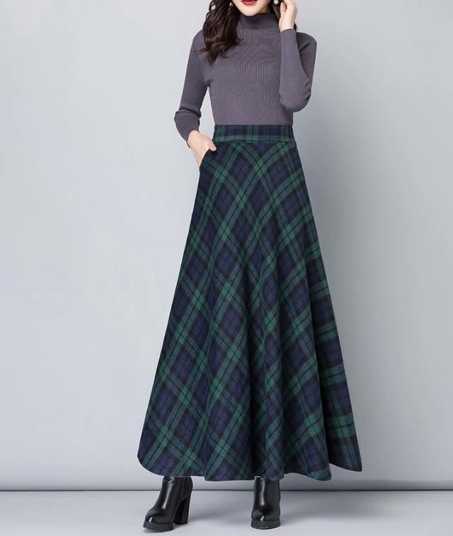 画像1: ウールチェック柄ロングスカート