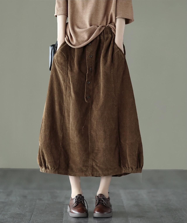 画像1: コーデュロイロングバルーンスカート
