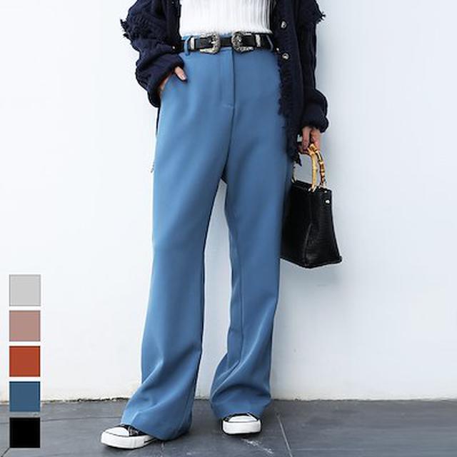 画像: [Qoo10] 履くだけでトレンド感上がるセンタープレスフレアパンツ/スモーキーカラー/美脚/スラックス 【2020SS-AW/ STANDARD ITEM】 フレアープレススラックス