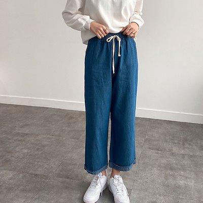 画像: [Qoo10] [TEETAK] 普段着におすすめ ウエストゴム仕様 デニムワイドパンツ