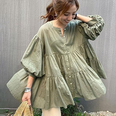 画像: [Qoo10] 韓国ゆったりカジュアル無地ブラウス 薄手... : レディース服