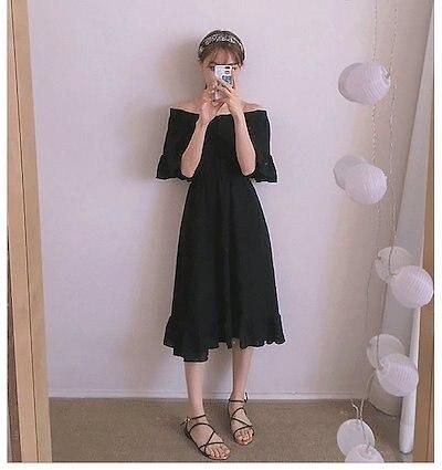 画像: [Qoo10] 送料無料 レディースファッション オフショルダーベルスリーブ ミモレ丈フレアワンピース デート 大きいサイズ お出かけ 大人可愛い かわいい レトロ エレガント フェミニン 春夏 韓国ファッション き
