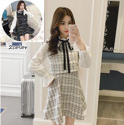 画像: [Qoo10] ブラウスコンビツイード ワンピース 量産型 ブラック ホワイト 量産女子 レディース 可愛い リボン ツイード韓国