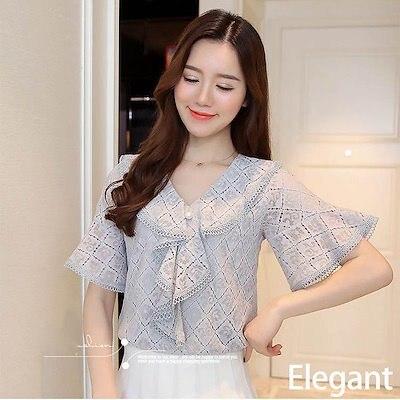 画像: [Qoo10] 新作フレアスリーブ上品ブラウス 大きいサイズあり透かし模様 涼しげパステル3色 S~2XL shirt037