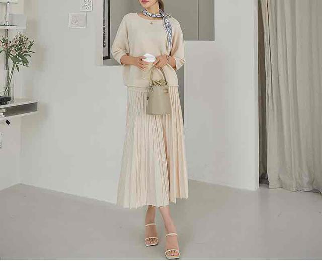 画像1: 半袖ニット+スカート