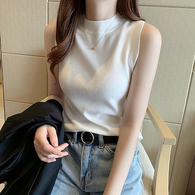 画像: [Qoo10] タイトなノースリーブニット : レディース服