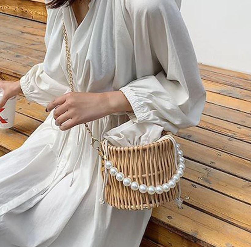 画像: 竹素材かごバッグ