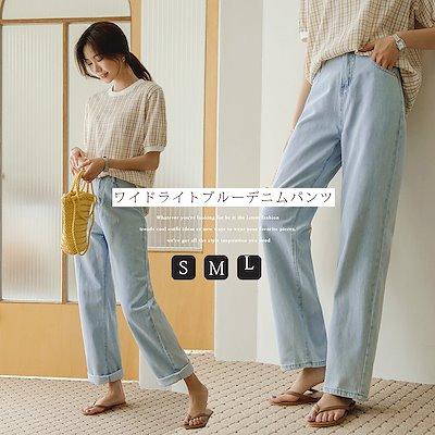 画像: [Qoo10] ジャストワン : [韓国ファッション]ワイドライトブルーデ... : レディース服