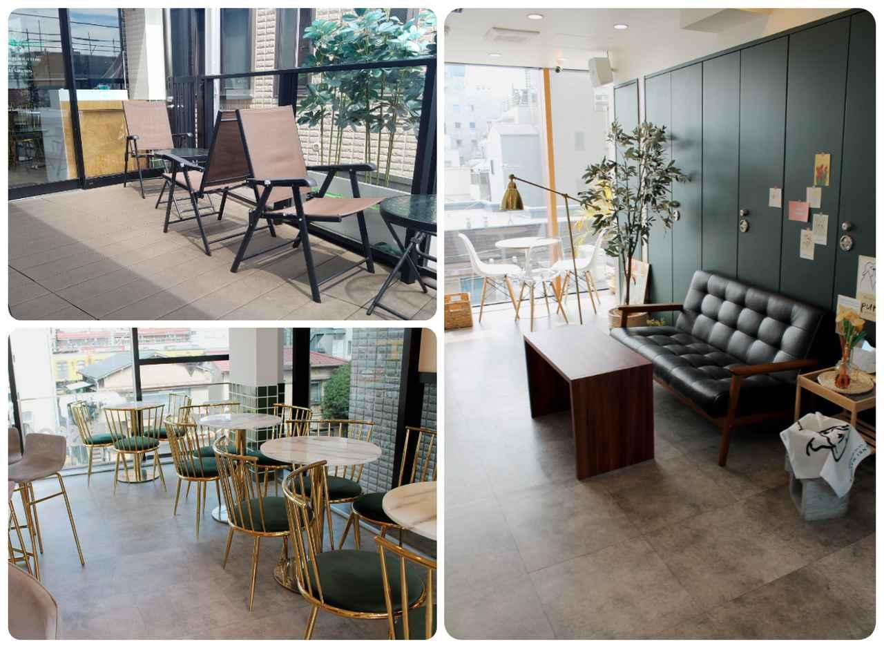 画像: 右:4Fのインスタ映えするカフェスペース、左上:3Fのテラス席、左下:3Fカフェスペース