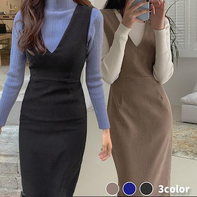 画像: [Qoo10] チェリーココ : 美シルエット/スリムVネックラインワンピ... : レディース服