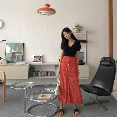 画像: [Qoo10] チェリーココ : ボタン フラワー スカート公式ハイクォリ... : レディース服