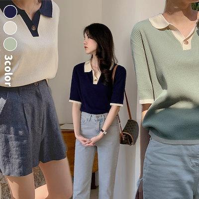 画像: [Qoo10] チェリーココ : 配色カラーニット 公式ハイクォリティー ... : レディース服