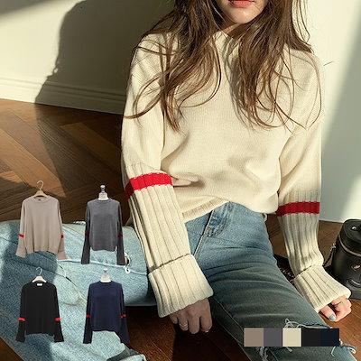 画像: [Qoo10] ナンニング : コレット 袖配色 ニット韓国のファッショ... : レディース服