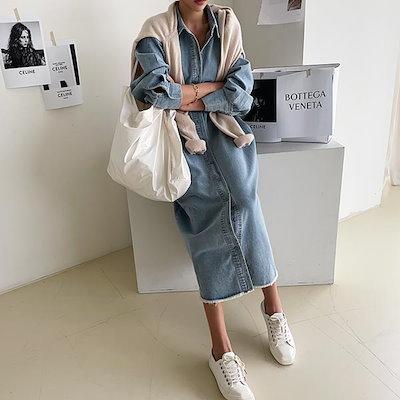 画像1: ムックベ デニム シャツ ベルト ワンピース韓国のファッションNO.1 トレンドライクな大人女子コー