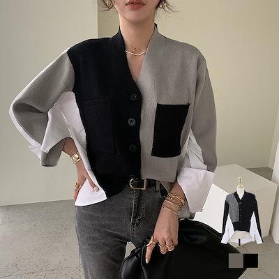 画像: [Qoo10] ナンニング : ラニュード シャツ 配色 カーディガン韓... : レディース服