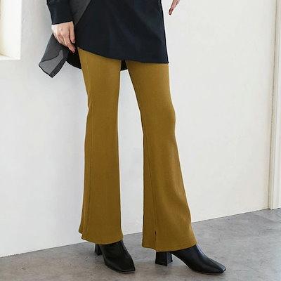 画像: [Qoo10] カレイ : リブ編 スリット入り レギンスパンツ : レディース服