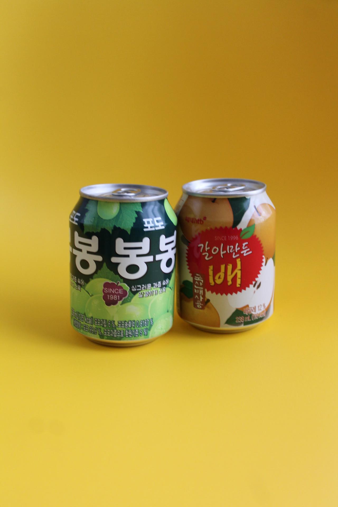 画像: 「ヘテ」のブドウジュースと梨ジュース