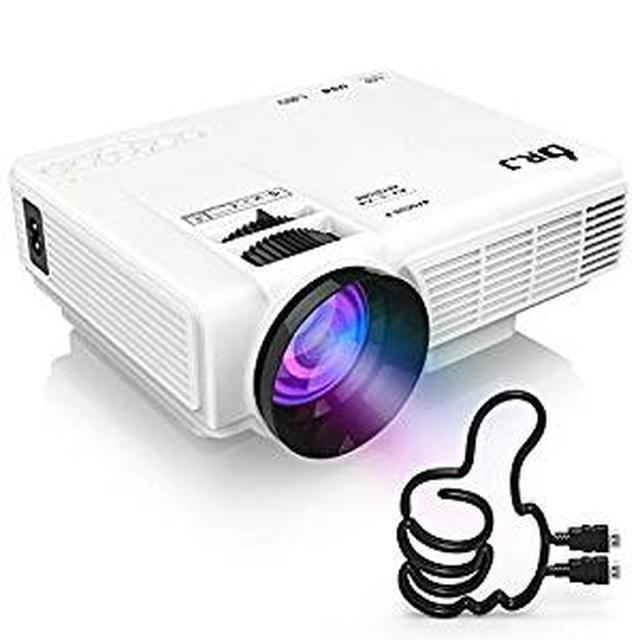 画像: Amazon.co.jp: DR.J LED プロジェクター 小型 2400ルーメン 1080PフルHD対応 800*480解像度 HDMIケーブル付属 台形補正 パソコン/スマホ/タブレット/ゲーム機など接続可能 USB/マイクロSD/HDMI/AV/VGAサポート 標準的なカメラ三脚に対応 3年保証: パソコン・周辺機器