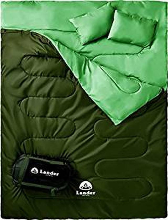 画像: Amazon | Lander(ランダー) 寝袋 シュラフ 寝袋 2人用 車中泊 グッズ 車中泊 マット【枕付きで便利】La-sb1 | Lander | 寝袋・シュラフ
