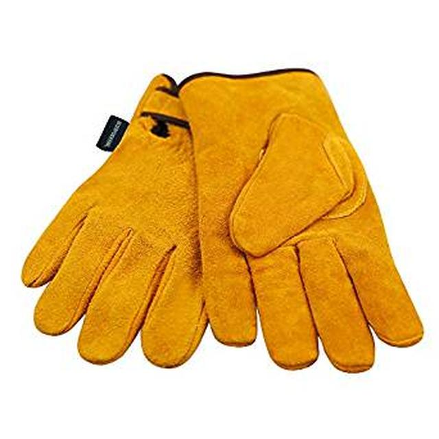 画像: Amazon   耐熱牛革 キャンプグローブ 裏付き 耐熱グローブ 防寒革手袋 オレンジ   リガー手袋   産業・研究開発用品 通販