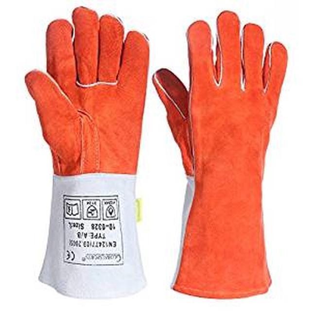 画像: Amazon | 耐熱グローブ キャンプグローブ bbq 手袋 ストーブ 焚き火台 溶接 薪ストーブ 裏起毛 牛革 メンズ 防寒 | globalsports | 炭トング・BBQツール