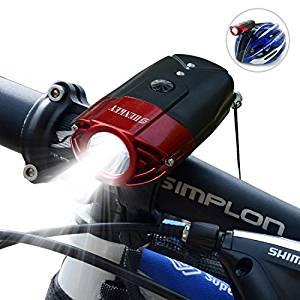 画像: Amazon   SHENKEY LED自転車ライト 2000mah 1200ルーメン USB充電 IP65防水 軽量 レッド   SHENKEY   ヘッドライト