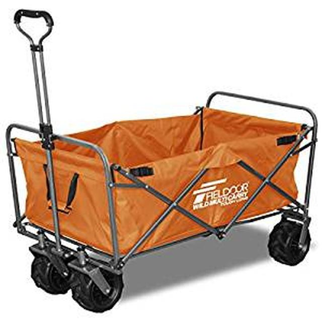 画像: Amazon | FIELDOOR ワイルドマルチキャリー 【タフロング】 折りたたみ式多用途キャリーカート オレンジ 耐荷重150kg アウトドア キャンプ レジャー | FIELDOOR(フィールドア) | キャリーカート