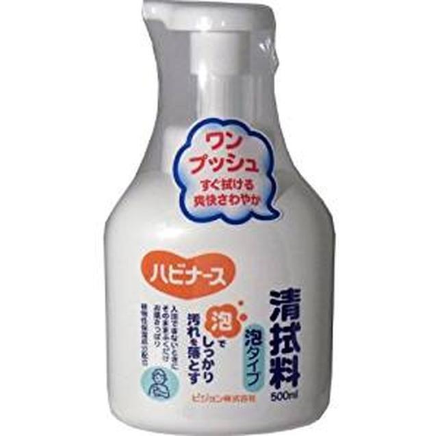 画像: Amazon   ピジョン ハビナース 清拭料泡タイプ 500mL     清拭剤