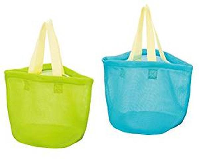 画像: Amazon.co.jp : 持ち運ぶ 洗濯 干すが簡単に!そのまま洗える洗濯バッグ ランドリーバッグ 2個組(グリーン・ブルー) ファスナー付 メッシュ仕様 : ホーム&キッチン