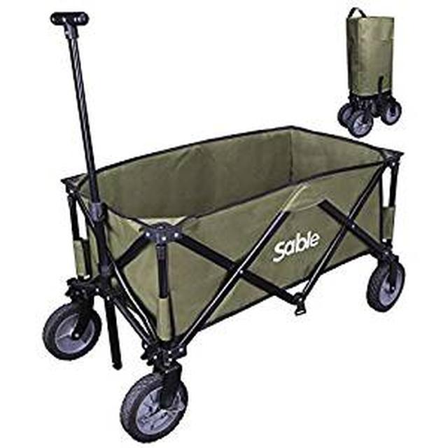 画像: Amazon | Sable キャリーカート キャリーワゴン 折りたたみ式 耐荷重 大容量 ストッパー付き 超コンパクト 軽量 収納バッグ付 SA-HF039 (緑色) | Sable | キャリーカート