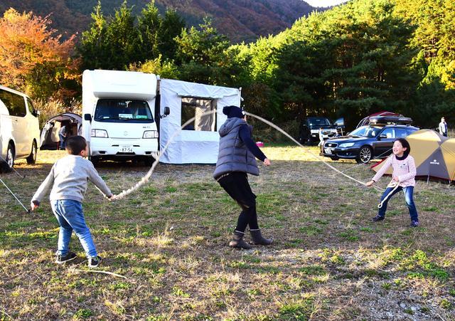 画像1: 西湖自由キャンプ場にて:筆者夫撮影