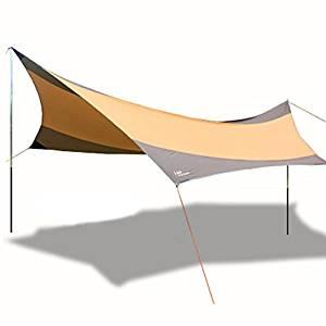 画像: Amazon | Kazumiya テント タープ サンシェード ヘキサタープ 550 * 560cm 超広い 日焼け 紫外線カット UV50+ 防水 PU2000mm 天幕シェード アウトドアテント 超軽量 携帯便利 収納袋付き | Kazumiya | タープ