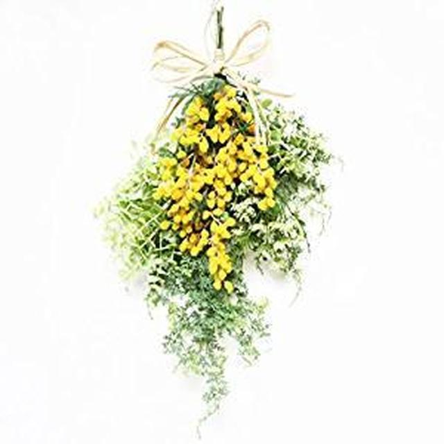 画像: Amazon|グランドグルー リース ミモザ スワッグ 造花 壁掛け 玄関 ハンドメイド アーティフィシャルフラワー|造花 オンライン通販