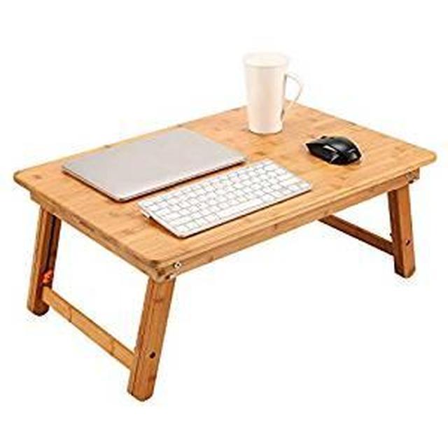 画像: Amazon | Boohome ノートパソコンデスク 竹製 折りたたみ 多機能 ローテーブル くつろぎスタイルに合わせて 高さ調節可能 ナチュラル竹目 シンプルデザインはどんな部屋でも馴染みします | ノートパソコンスタンド | 文房具・オフィス用品