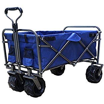 画像: Amazon   DABADA(ダバダ) キャリーカート 耐荷重150kg 容量95L アウトドアワゴン 折りたたみ 軽量 大型タイヤ 4輪 (Navy)   DABADA(ダバダ)   キャリーカート