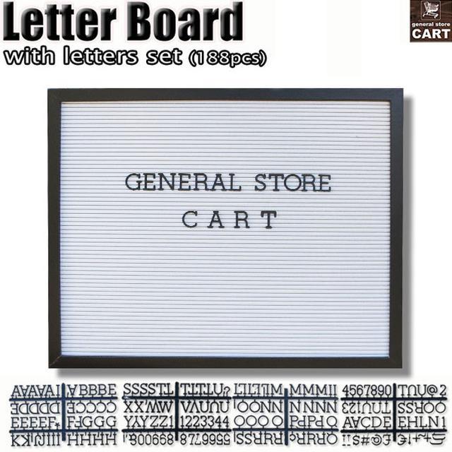 画像: 【楽天市場】レターボード 看板 ワイド 横型 ホワイト 木製フレーム ブラックレターセット 188文字付属 (アルファベット 数字 記号):general store CART