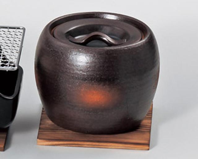 画像: 【楽天市場】陶雅  コンロ・網・敷板黒吹耐熱火消し壺(小)敷板付(萬古焼):マタカツ