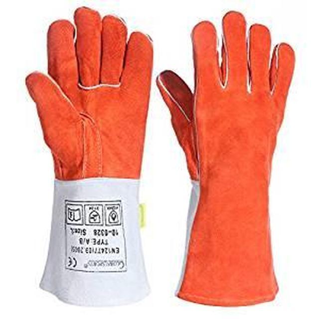 画像: Amazon | 耐熱グローブ キャンプグローブ bbq 手袋 ストーブ 焚き火台 溶接 薪ストーブ 裏起毛 牛革 メンズ 防寒 (FREE) | globalsports | 炭トング・BBQツール