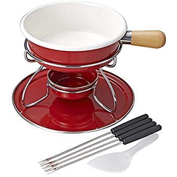 画像: Amazon.co.jp: パール金属 ベルマーニ ホーロー チーズフォンデュ鍋 セット レッド H-3091: ホーム&キッチン