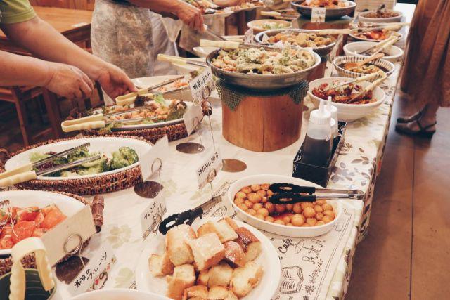 画像: 編集部撮影・地元野菜やジビエ肉を使った料理が並んでます