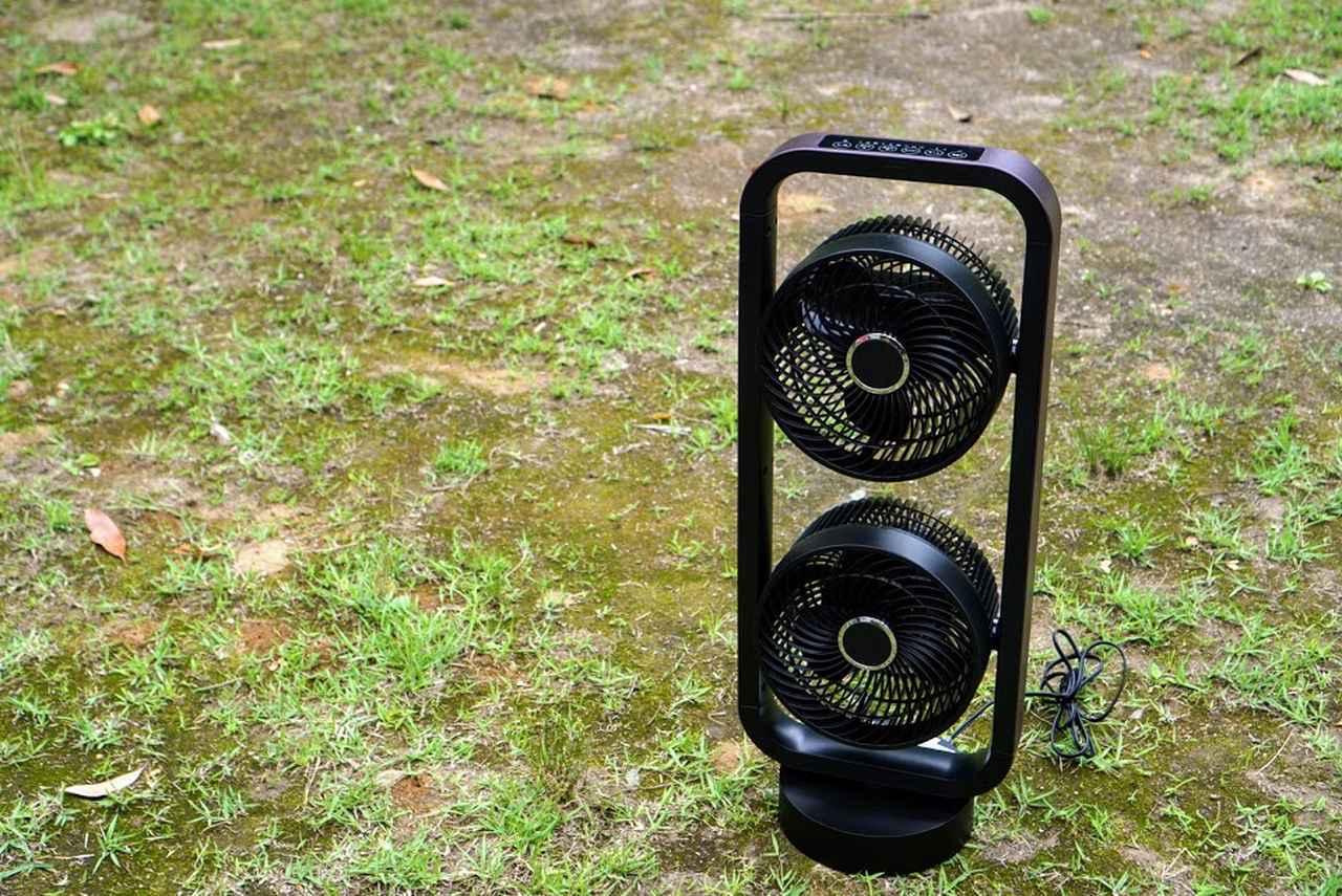 画像: 著者撮影:AC電源付きサイトや、ポータブル電源があれば大型扇風機も使えます。