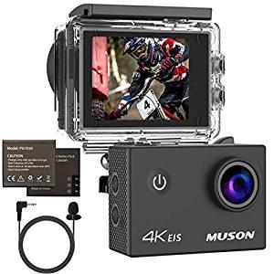 画像: Amazon | MUSON(ムソン) スポーツカメラ 【4K高画質 / 手振れ補正/外部マイク対応/WiFi搭載 / 2000万画素 / 30M防水 / 1050mAhバッテリー2個 / メーカー1年保証 / 170度広角レンズ / リモコン付き / 2インチ液晶画面 / HDMI出力】 ウェアラブルカメラ アクションカメラ ドライブレコーダーとして使用可能 水中カメラ | ウェアラブルカメラ・アクションカム 通販