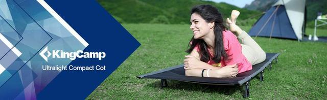 画像: Amazon | KingCamp(国際デザイン大賞)キャンプコット 折りたたみベッド 航空アルミ 5色 枕と収納バッグ付き 軽量2kg 耐荷重120kg (グレー) | KingCamp | 折りたたみ式ベッド